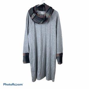 Maurices grey plaid cowl neck sweater dress XL